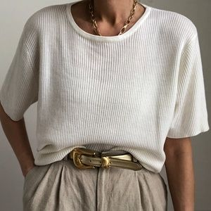 VINTAGE/ boxy ribbed knit tee pullover